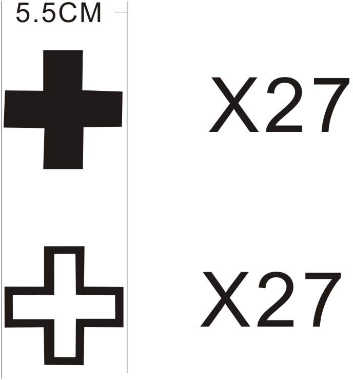Makeyes Cross Plus Sign Wall Sticker Kids Room Wall Decal Math Home Decoration Easy Peel Sticker DIY Solid Hollw Plus Signs MG021 Black