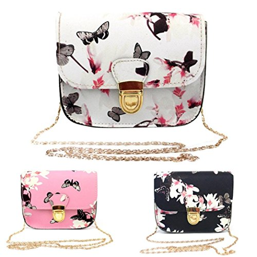 Outsta Butterfly Flower Printing Handbag,Women Shoulder Bag Tote Messenger Bag Phone Bag Coin Bag Travel Backpack Bucket Bag Classic Basic Casual Daypack Travel (White) by Outsta (Image #4)