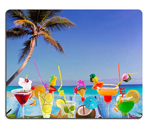 Luxlady Gaming Mousepad IMAGE ID: 19615514 Beach colorful many tropical Cocktails in tropical blue wood with coconut mojito pepermint margarita and palm tree