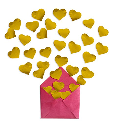 Metallic Foil Gold Hearts Balloon Confetti | Table Top Decorations Balloon Confetti | Valentine's Day, Bridal,Wedding Shower, Bachelorette, Anniversary Party (GOLD, 1 1/4 INCHES (Holloween Costumes Bridal)