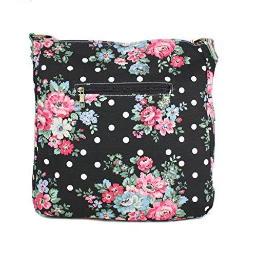 Flower Lulu Black à Bandoulière Sac Miss en Toile Y6dq00