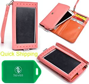 Sony Xperia ion LTE Universal Ladies wristlet wallet in W/ [GLAZED] FRONT VIEW IN SALMON PINK/ LIGHT PINK plus bonus Neviss luggage tag
