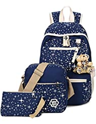 Tibes Canvas Laptop Backpack Casual Shoulder Bag Cute Purse 3pcs Set School Backpack
