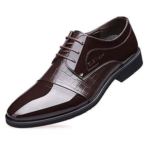 LEDLFIE Chaussures D'affaires pour Hommes Chaussures pour Hommes Chaussures De Mode en Dentelle Chaussures De Mariage Brown