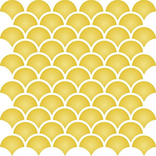 """Fish Scale Trellis Stencil - (size 6.5""""w x 6.5""""h) Reusable Wall Stencils for Painting - Best Quality Template Allover Wallpaper ideas - Use on Walls, Floors, Fabrics, Glass, Wood, and More…"""