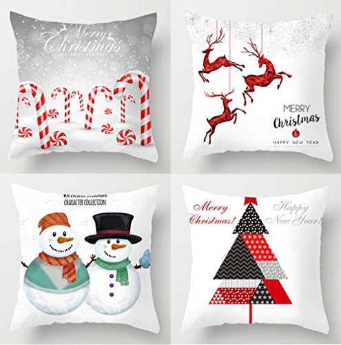 """KACOPOL Christmas Tree Snowman Deer Candy Cane Pillow Covers Merry Christmas Happy New Year Polyester Peach Home Decor Throw Pillow Case Cushion Cover 18"""" x 18"""" Set of 4 (Cartoon Christmas Set)"""