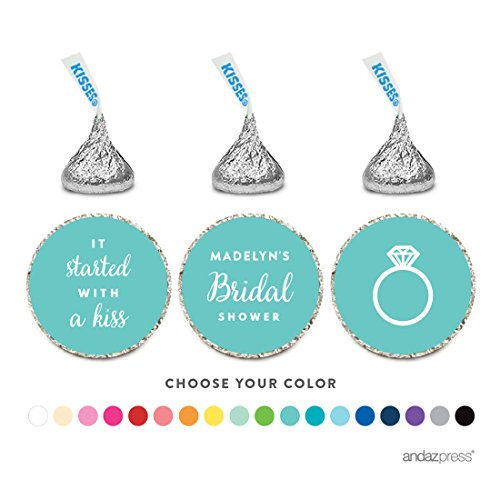 Andaz Press Personalized Chocolate Drop Labels Trio, Fits Hershey's Kisses Party Favors, Wedding Bridal Shower, 216-Pack, Custom Any Name, Bride & Co Inspired Bridal Shower Party Decor Decorations (Personalized Bar Shower Chocolate Bridal)