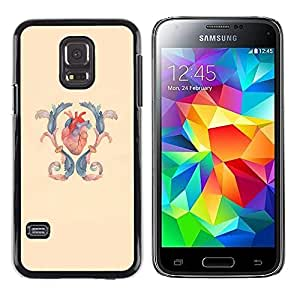A-type Colorful Printed Hard Protective Back Case Cover Shell Skin for Samsung Galaxy S5 Mini / Samsung Galaxy S5 Mini Duos / SM-G800 !!!NOT S5 REGULAR! ( Heart Anatomy Surgery Blue Yellow )