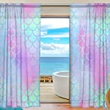My Little Nest Colorful Magic Mermaid Fish Scale Pattern Sheer Window Curtains Drapes 55 X 84 Inch Decorative Window Treatments for Bedroom Living Room 2 Panels For Sale