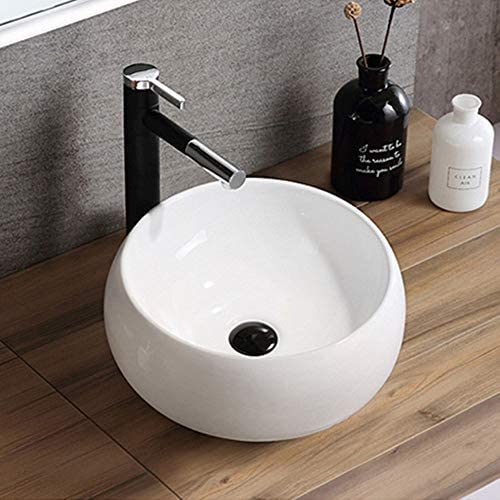 洗面ボウル 浴室の容器シンクラウンド上記カウンターシンクアート盆地のために洗面所の洗面化粧台のキャビネット現代のスタイル 洗面器 (Color : White, Size : 40x40x15cm)