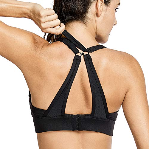 CRZ YOGA Women's High Impact Wirefree Padded Sports Training Bra with Front Convertible Strap