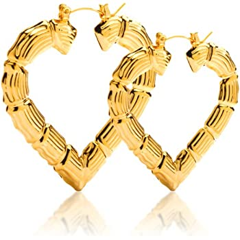 Amazon.com: Gold Plated Hollow Heart Shape Bamboo Hoop Earings. 3.5 ...