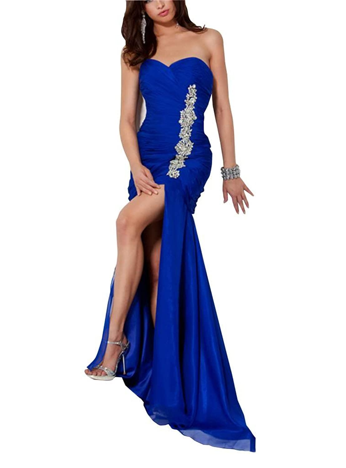 GEORGE BRIDE Sheath/ Column Sweetheart Slip Front Evening Dress With Beaded Appliques