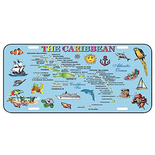 (Rockin Gear License Plate Caribbean Islands map Souvenir and Gift 6 by 12 Metal Ocean Blue Map Official Car Sized License Plates Automobile Caribbean)