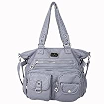 Angelkiss 2 layers Multi Pockets Handbags Washed PU Leather Purses Shoulder Bags XS160500 (Grey)
