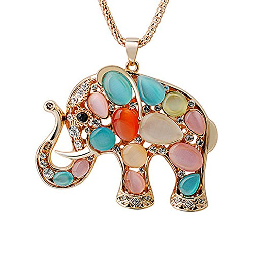 Elephant Crystal Jewelry - Julie's Jewelry Multicolor Animal Crystal Pendant Necklace The Elephant Little Bear Swan Dolphins Decorative Long Necklace (Elephant)