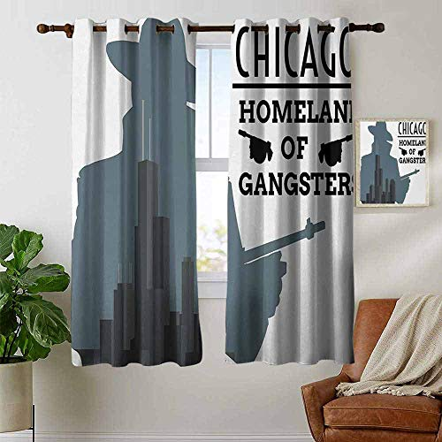 petpany Room Darkening Wide Curtains Vintage,Double Exposure of Gangster with Gun on Chicago Skyscrapers Homeland Mafia Danger,Grey Black,Light Blocking Drapes with Liner -