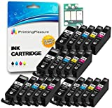 20 (4 SETS) Compatible PGI-525 CLI-526 Ink Cartridges for Canon Pixma iP4800 iP4840 iP4850 iP4950 MG5120 MG5140 MG5150 MG5240 MG5250 MG6140 MG6150 MG8120 MG8140 MG8150 iX6550 MX885 - High Capacity