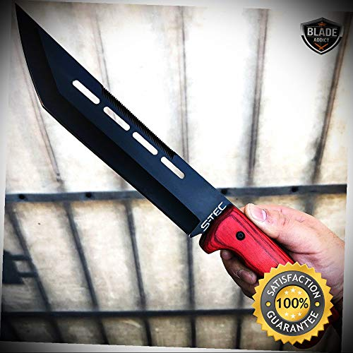 14'' HUNTING SURVIVAL FIXED BLADE MACHETE Rambo Knife Sword Camping - Outdoor For Camping Hunting