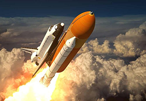 Wall26 – Rocket Ship Blasting off into Space- Wall Mural, Removable Sticker, Home Decor – 66×96 inches