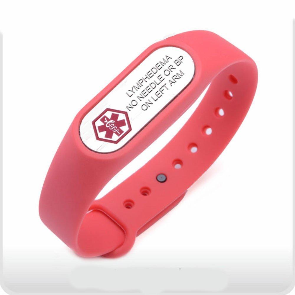 Breast Cancer Lymphedema Medical ID Alert Silicone Bracelet (Left)