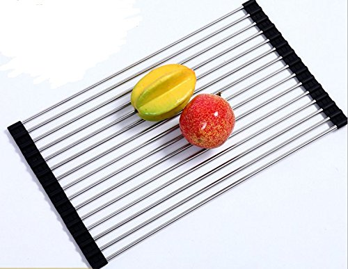 Dish Drying Rack IdealHouse Stainless Steel Roll-Up Foldable