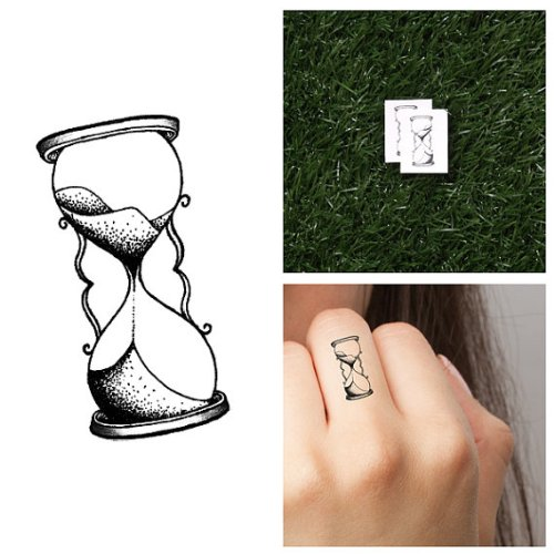 Tattify Hourglass Temporary Tattoo - Time Flies (Set of 2) - Other Styles Available and Fashionable Temporary Tattoos - Tattoos that are long lasting and - Hours Disney Today