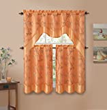 3 Piecen Double Layer Leaf Embroidered Kitchen Window Curtain Set with Valance (Orange)