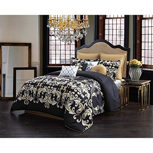Versace Modern Classic Graphic Black Gold Dolce Vita Damask Bedding Hypoallergenic Queen Comforter (9 Piece in a Bag)