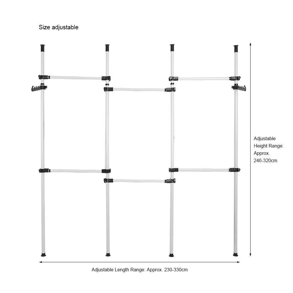 Facile /à Assembler Portemanteau pour Chambre Vestiaire 6 Barre Largeur et Hauteur R/églables Zoternen Portant /à V/êtement Garde-Robe T/él/éscopique Syst/èmes de Penderie Porte-V/êtements avec Barres