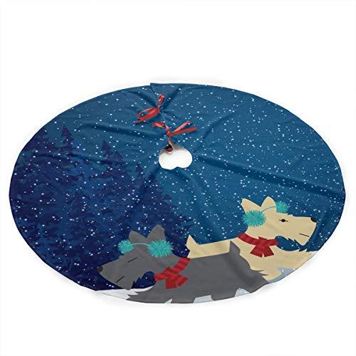Scottish Christmas Tree Skirt - NGFF Snow Scottish Terrier Traditional Christmas Tree Skirt Santa & Reindeer Tree Ornaments Tree Skirt for Christmas Decoration