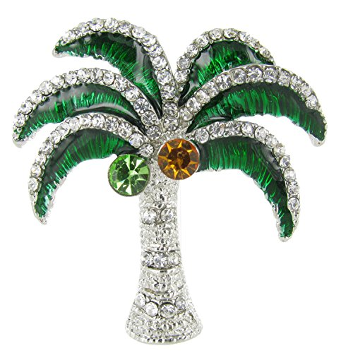 Coconut Tree Magnet with Clear Crystal and Green Enamel