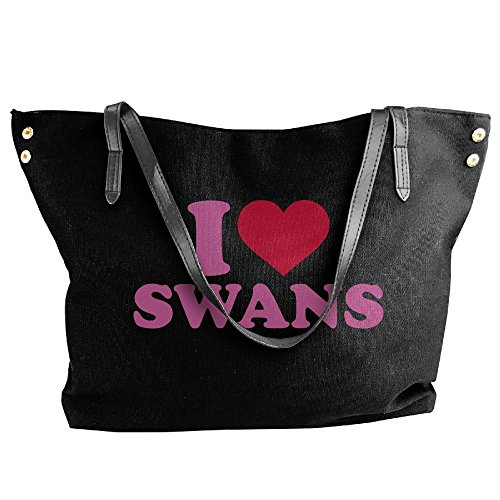 Love Women's Canvas Black Handbag Shoulder Swans I Messenger Large Bags Tote wRwqY1