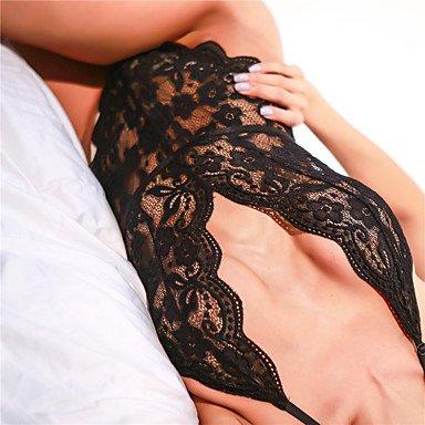 MENRY Lingerie en Dentelle Vêtement de nuit Femme Dentelle - Fin Blanc Noir , l