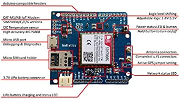 Botletics SIM7000 LTE CAT-M1 NB-IoT Cellular + GPS + Antenna Shield Kit for  Arduino (SIM7000G)