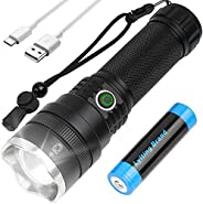 Rechargeable Flashlight with High Lumens, 10000 Lumens LED Flashlight, With 21,700 Batteries, 4 Modes, Scalabl