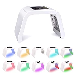 7 Color Led Face Light-Therapy Mask Skin Tightening Beauty Machine For Back Acne Anti-Aging Pore Photon Face Beauty Salon Equipment Neck Light Mask Skin Rejuvenation With Protective Eye Glasses