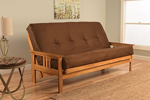Monterey Full Size Futon Sofa Bed, Butternut Wood Frame, Suede Innerspring Mattress, Chocolate ()