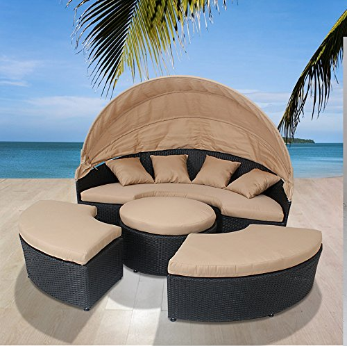husen Bellagio 4-Piece Outdoor Daybed Sectional Set (Tan/Tan) (Furniture Patio Labor Day Sale)