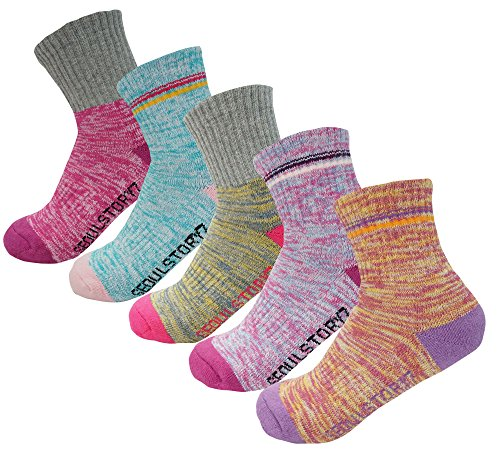 5Pack Women's Mid Cushion Low Cut Hiking/Camping/Performance Socks Block2P/MultiColor3P Medium