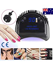 Vinteky 64W Rechargeable Professional Quikly Dry LED Gel Nail Dryer Curing Lamp Nail Polish Machine With Lifting Handle Touch Sensor LCD Screen (Black)