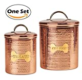 JointFeat Dog Food and Treats Canisters Set - 104 and 38 oz Copper Food Safe Storage Containers