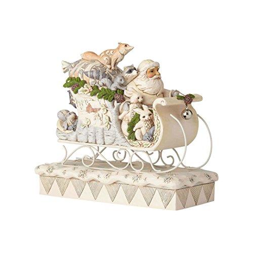(Enesco Jim Shore Heartwood Creek 6001410 White Woodland Santa in Sleigh, Multicolor)
