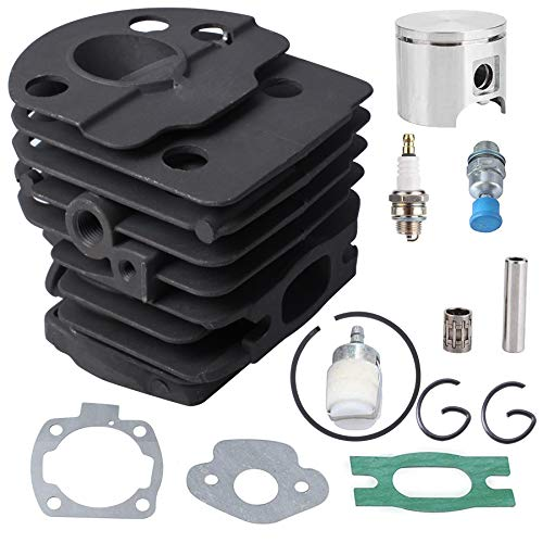 Poweka 46mm Cylinder Piston Kit for Husqvarna 50,51,55 Rancher Chainsaws ,Replace part# 503 60 91 71, 503 16 16-02, 501 76 18-02