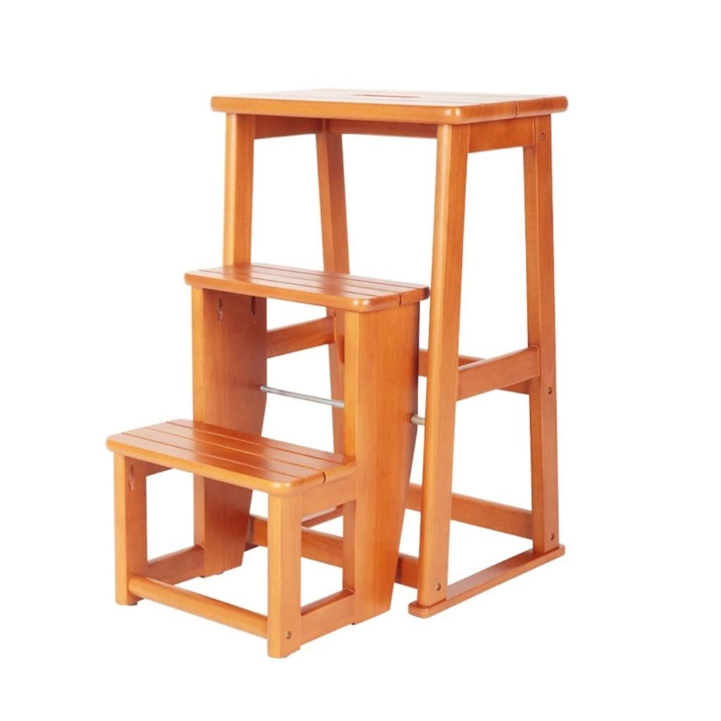 INTER FAST Solid wood step stool three-story step stool multi-function folding step stool home wooden ladder Taburete alto