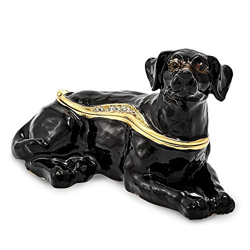 Jere Luxury Giftware Bejeweled Koop Black Labrador Retriever, Pewter with Enamel Collectible Trinket Box with Matching Pendant Necklace