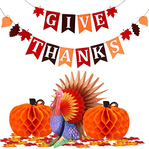 (Thanksgiving Party Table Decorations Turkey Banner Honeycomb kit, Artificial Maple Leaves Pumpkin Fall Dining Centerpiece Buffet Holiday Party Supply, Home Office Indoor Outdoor Background for Kids)