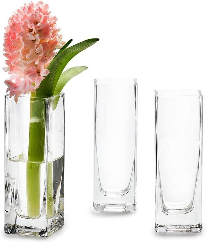 Serene Spaces Living Set of 4 Soft Square Vase Classic, Clear Glass Vase, Use for Home D cor, Event Centerpieces and More, 2 L x 2 W x 6 H