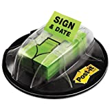 Post-it : Flag Dispenser, ''Sign & Date'', Bright Green, 200 Flags per Dispenser -:- Sold as 2 Packs of - 200 - / - Total of 400 Each
