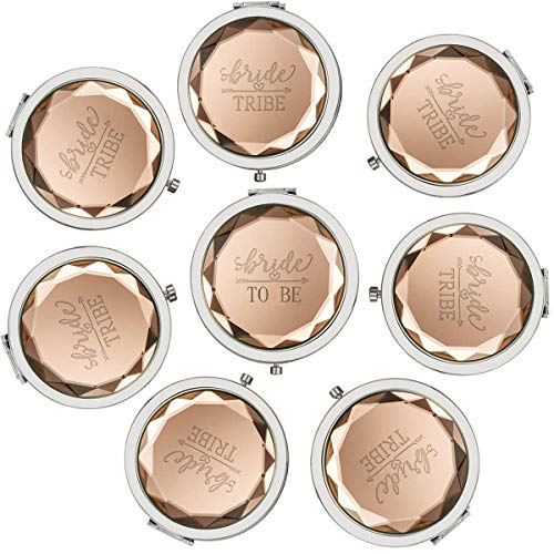 - Cuterui Bridesmaid Proposal Gifts Bride Tribe Compact Makeup Mirrors for Bachelorette Bridal Shower Party Supplies (Pack of 8,Champagne)